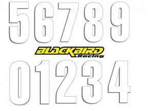 Štartovacie čísla BlackBirdRacing 13x7cm biele