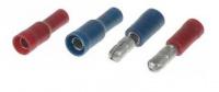 Dutinka a kolík valcový izolovaný 4mm červená alebo modrá