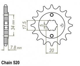 Záberové kolečko 14z pre Honda CA, CRF, NSR 125/150ccm