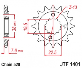 Záberové koliesko Suzuki LTZ400 LTR400 KFX400 JTF1401 14zubové
