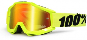 Okuliare 100% Accuri Fluo Yellow Mirror Red Lens