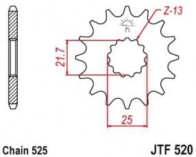 Záberové koliesko 15zubové reťaz 525 Hyosung GT650 Suzuki Strom650