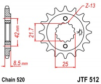 Záberové koliesko JTR512 16zubov Kawasaki