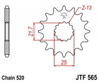Záberové koliesko 16z  520 pre Suzuki GS, Yamaha XT, TT, DT