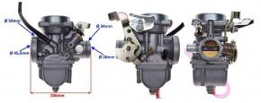 Karburátor aj pre cestné motocykle 125cc 34mm filter:50mm