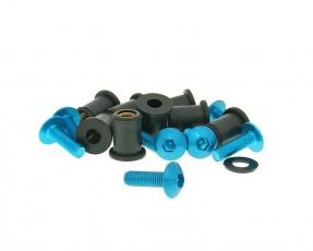 Hliníkové skrutky, matice M5x16 8ks modré pre plexiskolo