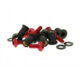 Hliníkové skrutky a matice M5x16 8ks červené aj pre plexisklo
