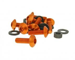 Hliníkové skrutky, matice M5x16 Set - 8 ks, oranžové