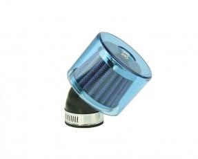 Vzduchový filter 35-38mm 45° zakrytý vytočený modrý