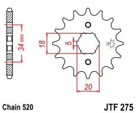 Záberové koliesko JTF275-15zubové reťaz 520 aj CG200 CG250 Bashan